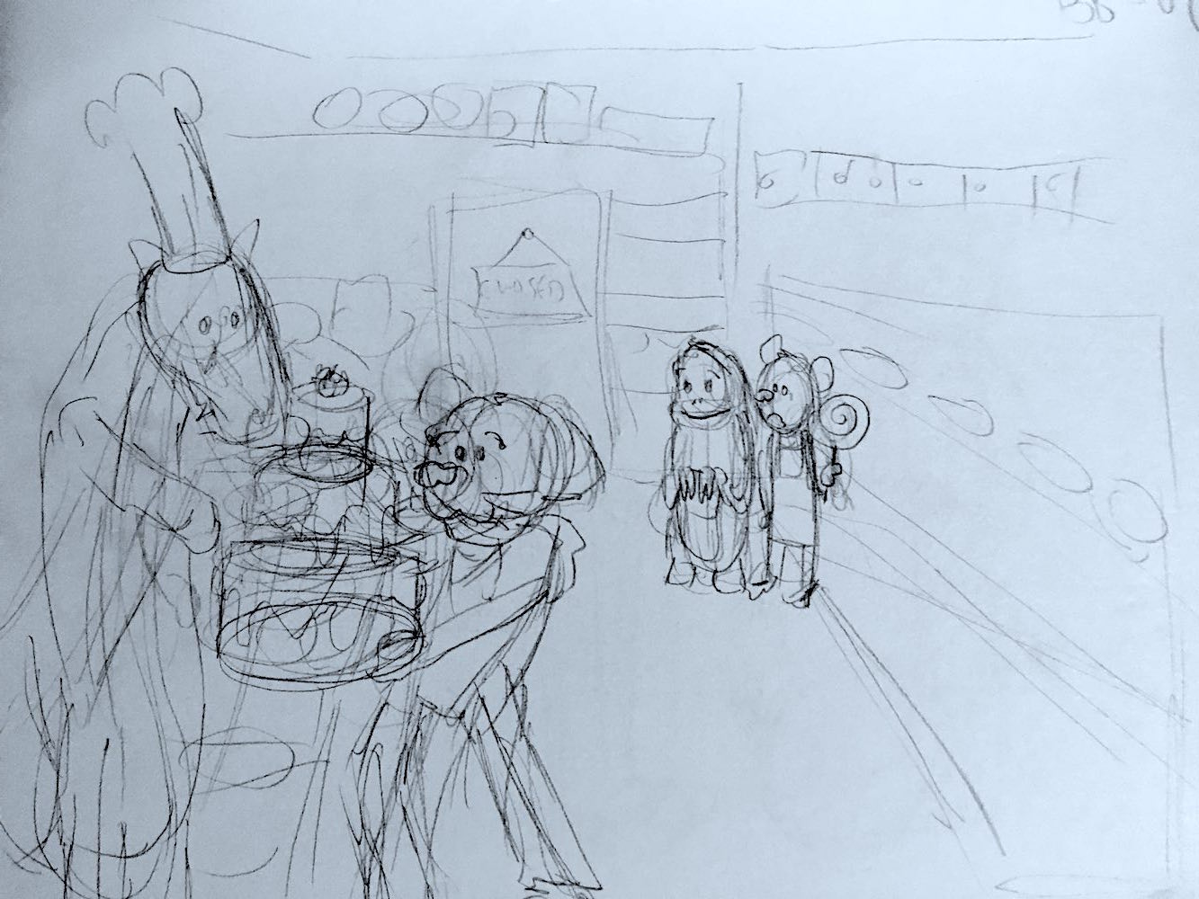 A sketch of a scene from the show: Percy accepting a huge, three-layer cake from a baker standing behind a counter at a bakery. In the background, a sloth and bear watch, stunned.