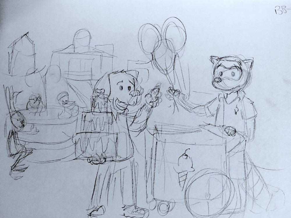 Percy, with the cake, asking a raccoon for his bundle of balloons in the park. In the background, a rabbit doing deep knee bends, talking to a frog and duck that are bathing in a fountain.