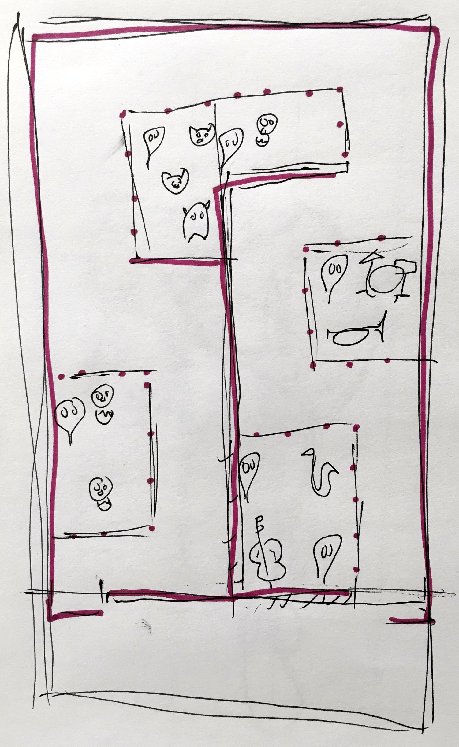 A rough sketch of the revised show layout