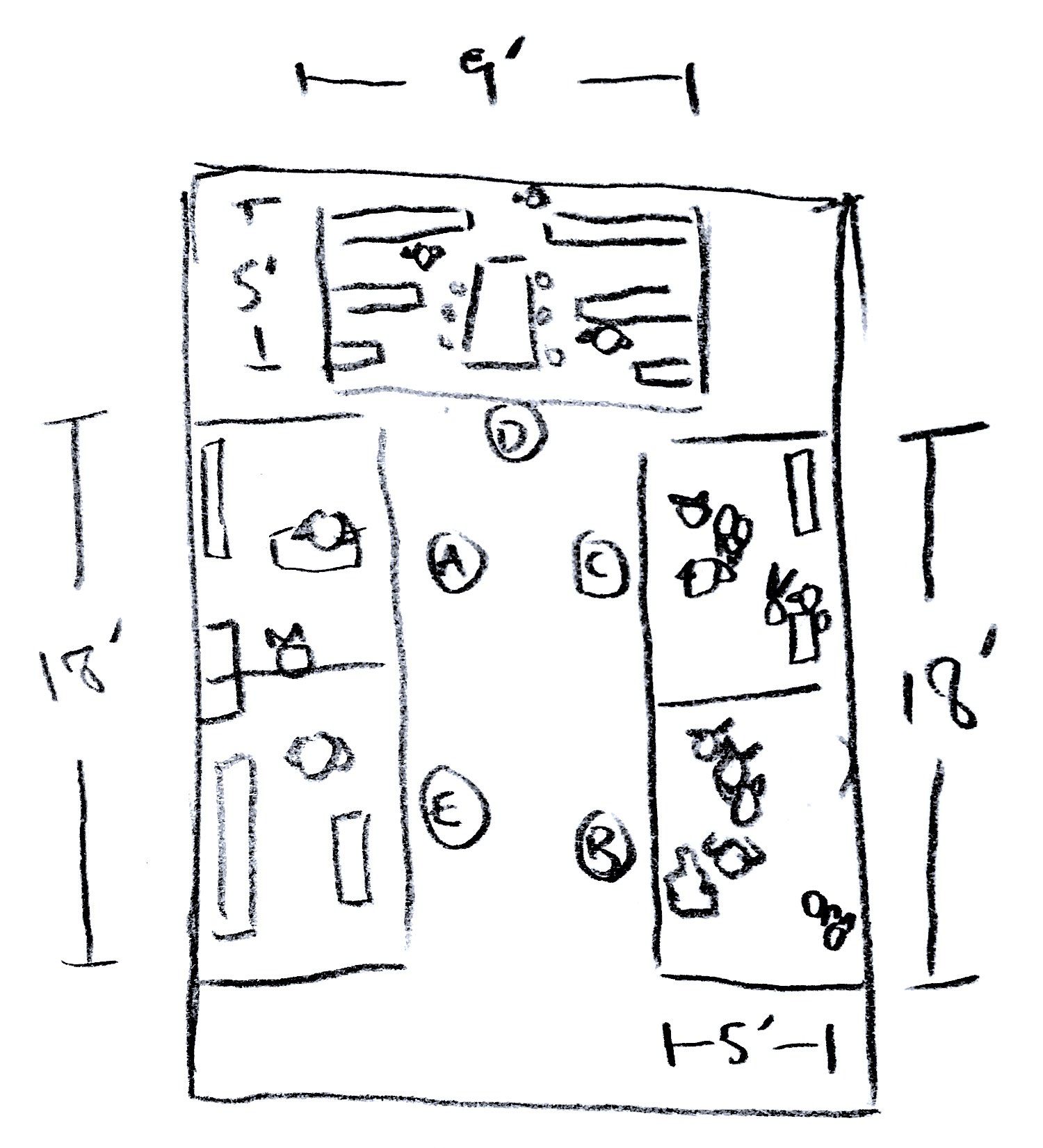 An overhead sketch of the show