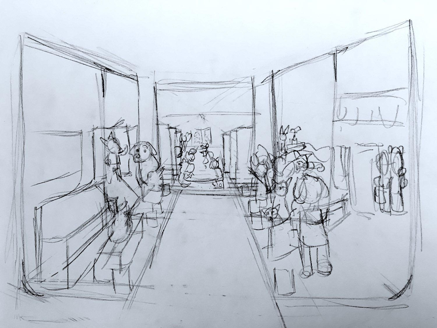 A head-on sketch of the show