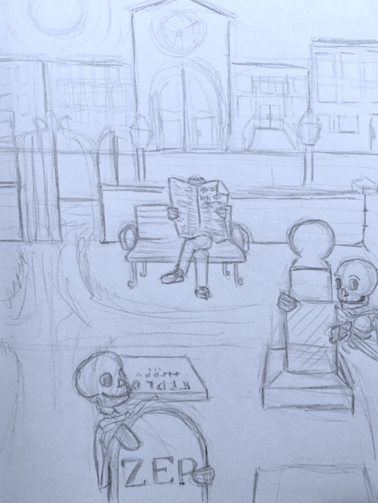 A sketch of scene 1, featuring a human reading a newspaper