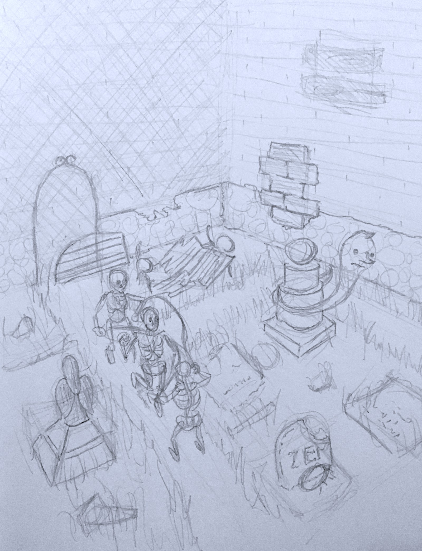 A sketch of scene 2, featuring skeletons jumping rope