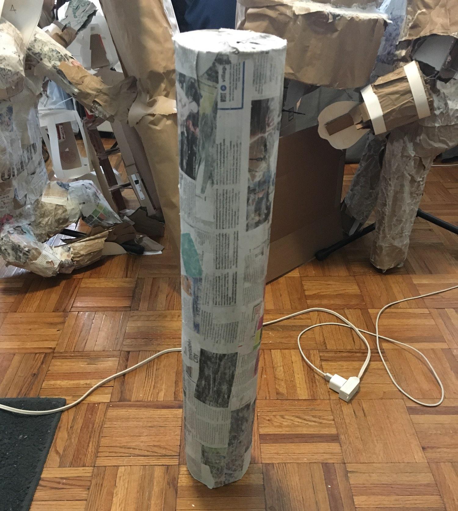 A papier-mâché tube