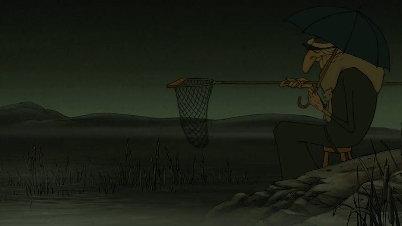 A still from Les Triplettes de Belleville showing one of the triplets sitting by the water with a net
