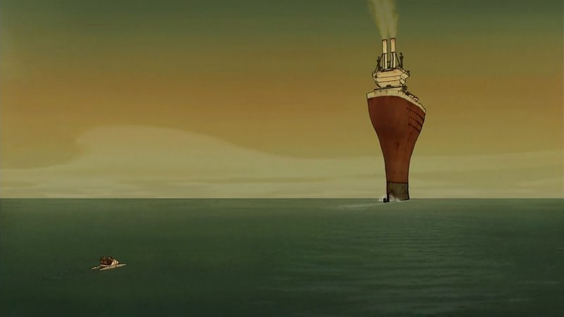 A still from Les Triplettes de Belleville showing a large ship and small pedal boat out at sea