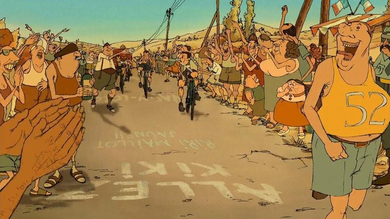 A still from Les Triplettes de Belleville showing cyclists during Le Tour de France