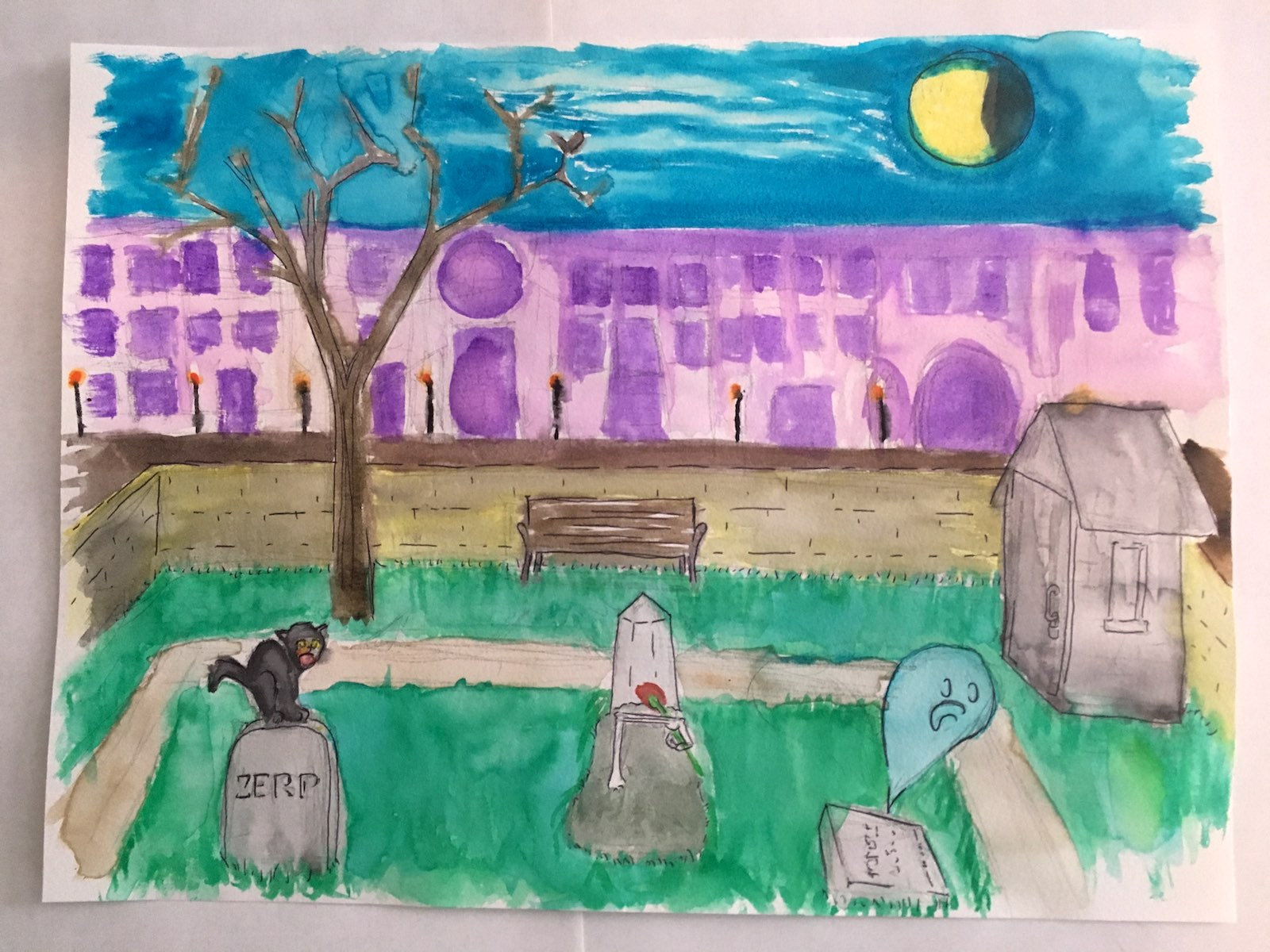 A watercolor painting of a graveyard in 1816, with a small ghost and a skeleton hand emerging from a fresh grave