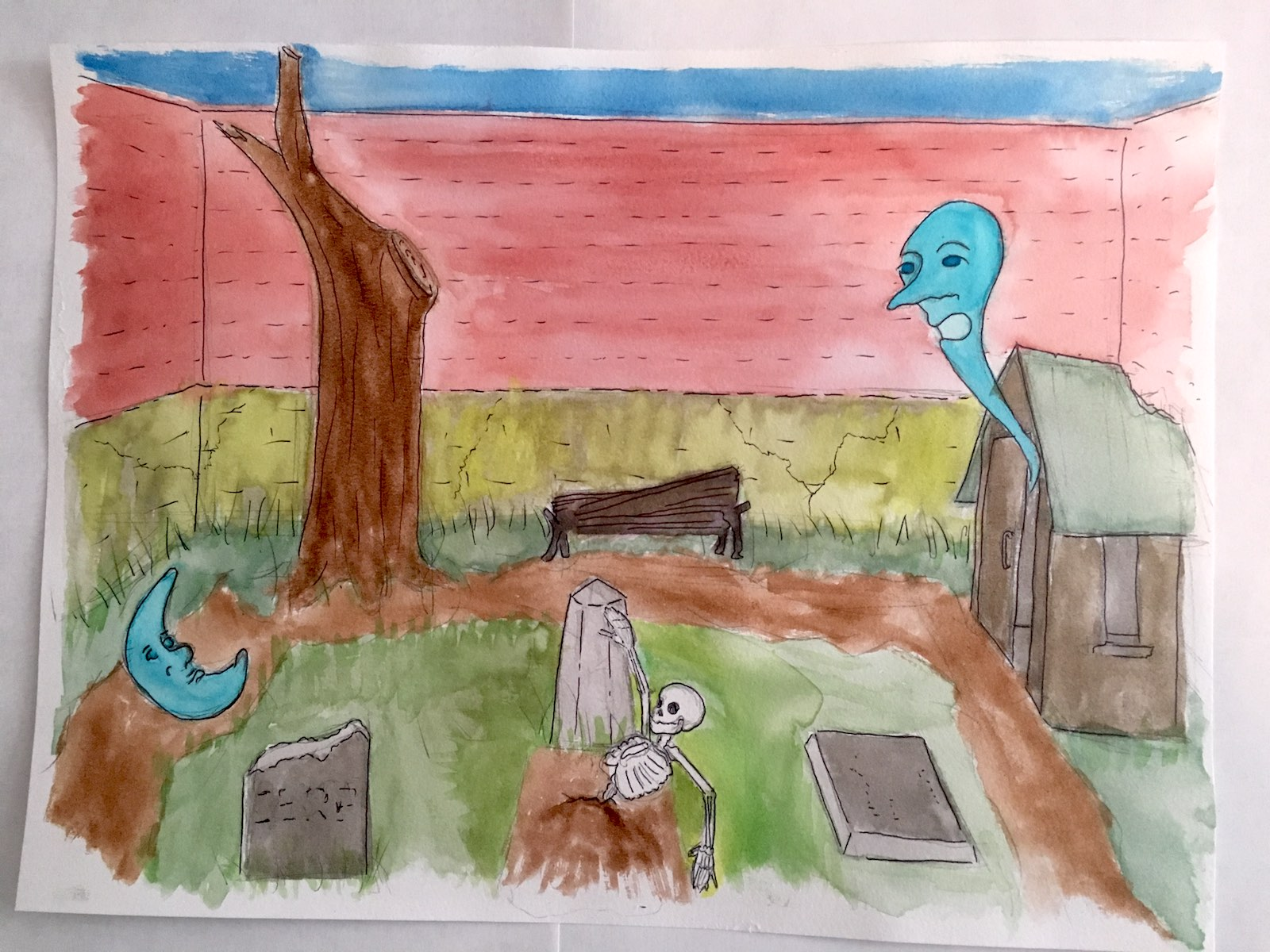 A watercolor paint of the previously-pictured graveyard 100 years later, with two larger ghosts and that same skeleton now halfway out of the ground