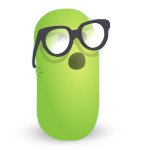 A green worm with glasses